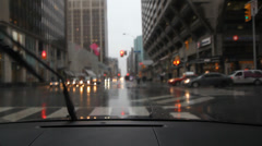 Rainy Bloor St. and Bay St.  Toronto, Canada. Stock Footage