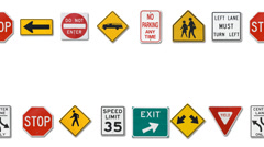 signs: variety of traffic signs moving border - stock footage