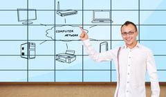 Plasma wall with computer network Stock Photos