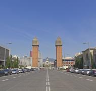 Plaza de Espanya Barcelonassa, Espanjassa. Kuvituskuvat