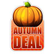 Autumn deal label with fall pumpkin Stock Illustration