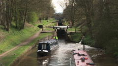 Canal locks and boats Stock Footage