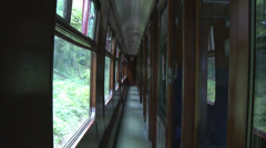 POV of a Vintage British Railway Carriage Corridor - stock footage