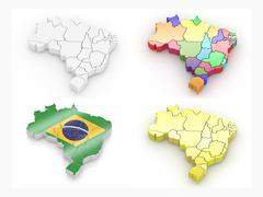Map of brazil on white isolated background. 3d Stock Illustration