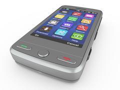 Metallic mobile phone on white isolated background. 3d Stock Illustration