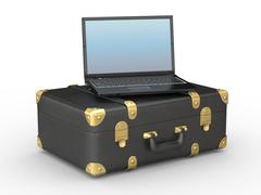 Laptop and suitcase on white isolated background. 3d Stock Illustration