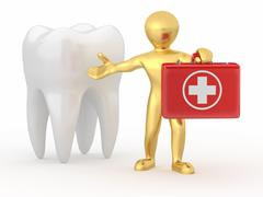 stomatologist. tooth and men with medical kit. 3d - stock illustration