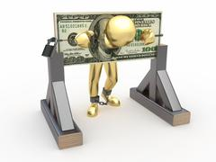 Man being held hostage by money. 3d Stock Illustration