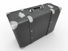 Leather suitcase on white isolated background. 3d Stock Illustration