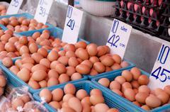 Eggs in local market, thailand Stock Photos
