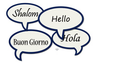 Messages: speech bubbles with various international greetings Stock Footage