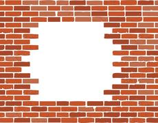 White hole in old wall, brick frame Stock Illustration