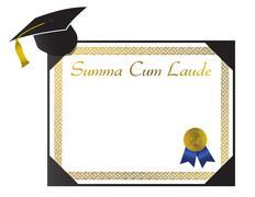 summa cum laude college diploma with cap and tassel - stock illustration