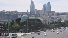 Baku skyline, traffic, 'Flame Towers', 'Bulvar' shopping mall Stock Footage