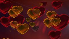 Golden Orange Valentine Hearts Motion Red Background Stock Footage