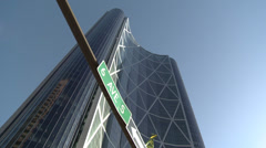 Calgary, the Bow extreme low angle with 6th Ave sign Stock Footage