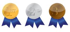 three ribbon of achievement, gold, silver and bronze illustration design - stock illustration