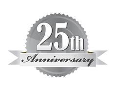 25 years anniversary seal with ribbon. illustration design Stock Illustration