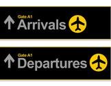 Stock Illustration of arrival and departures airport signs isolated over a white background.