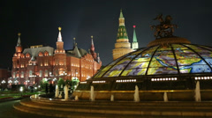 fountain Watch of the World at the Manege Square in Moscow Russia - stock footage