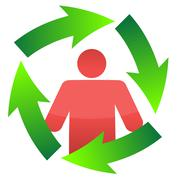 Stock Illustration of icon around a continuous movement cycle