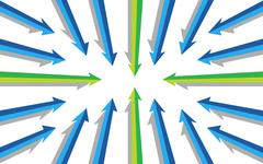 Various arrows pointing to the same direction illustration design Stock Illustration