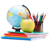 Globe, notebook stack and pencils. schoolchild and student studies accessorie Stock Photos
