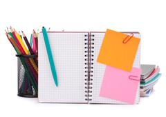 Blank checked notebook with notice papers Stock Photos