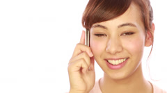 Asian caucasian mixed woman calling talking on cellphone Stock Footage