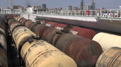 Oil trains on cargo vessel, Baku, Azerbaijan Stock Footage