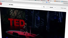 Sharing TED talk video on youtube - stock footage