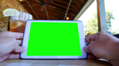 Green Screen Tablet PC on a Restaurant Table 3606 Stock Footage