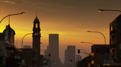 Commissioner Street at sunset Stock Footage