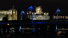 Night scene of The Golden Jubilee Bridges (LONDON GOLDEN JUBILEE BRIDGES--2B) Stock Footage
