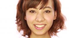 Asian caucasian mixed woman smile happy face - stock footage