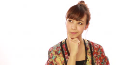 Asian caucasian mixed woman thinking wondering face - stock footage