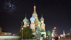St. Basil Church (Vasiliy Blazhenniy) in Moscow Russia - hyperlapse Stock Footage