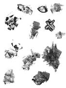set of grunge textured abstract ink elements - stock illustration