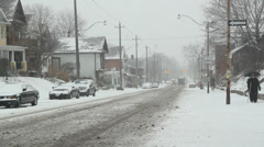 Snowstorm on Pape Avenue. Stock Footage