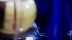 Tilt to dealer putting meth in baggies Stock Footage