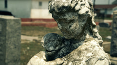 portrait of a cemetary statue - stock footage
