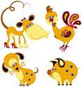 Stock Illustration of Children applique chinese horoscope set. Monkey, Rooster, Dog and Pig