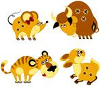 Stock Illustration of Children applique chinese horoscope set. Rat, Ox, Tiger and Rabbit