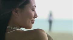 Girl enjoys on beach Stock Footage