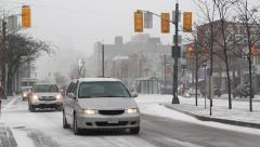 Snowstorm on Spadina Avenue. Stock Footage