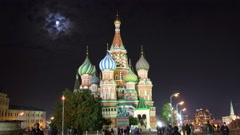 St. Basil Church (Vasiliy Blazhenniy) in Moscow Russia - hyperlapse 4k Stock Footage