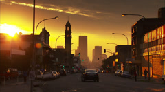 Commissioner Street at sunset - stock footage
