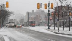 Spadina Avenue. Snowy intersection. Stock Footage