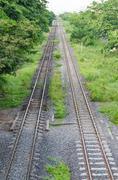 railway tracks in bangkok, the capital of thailand - stock photo
