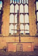 retro look coventry cathedral ruins - stock photo